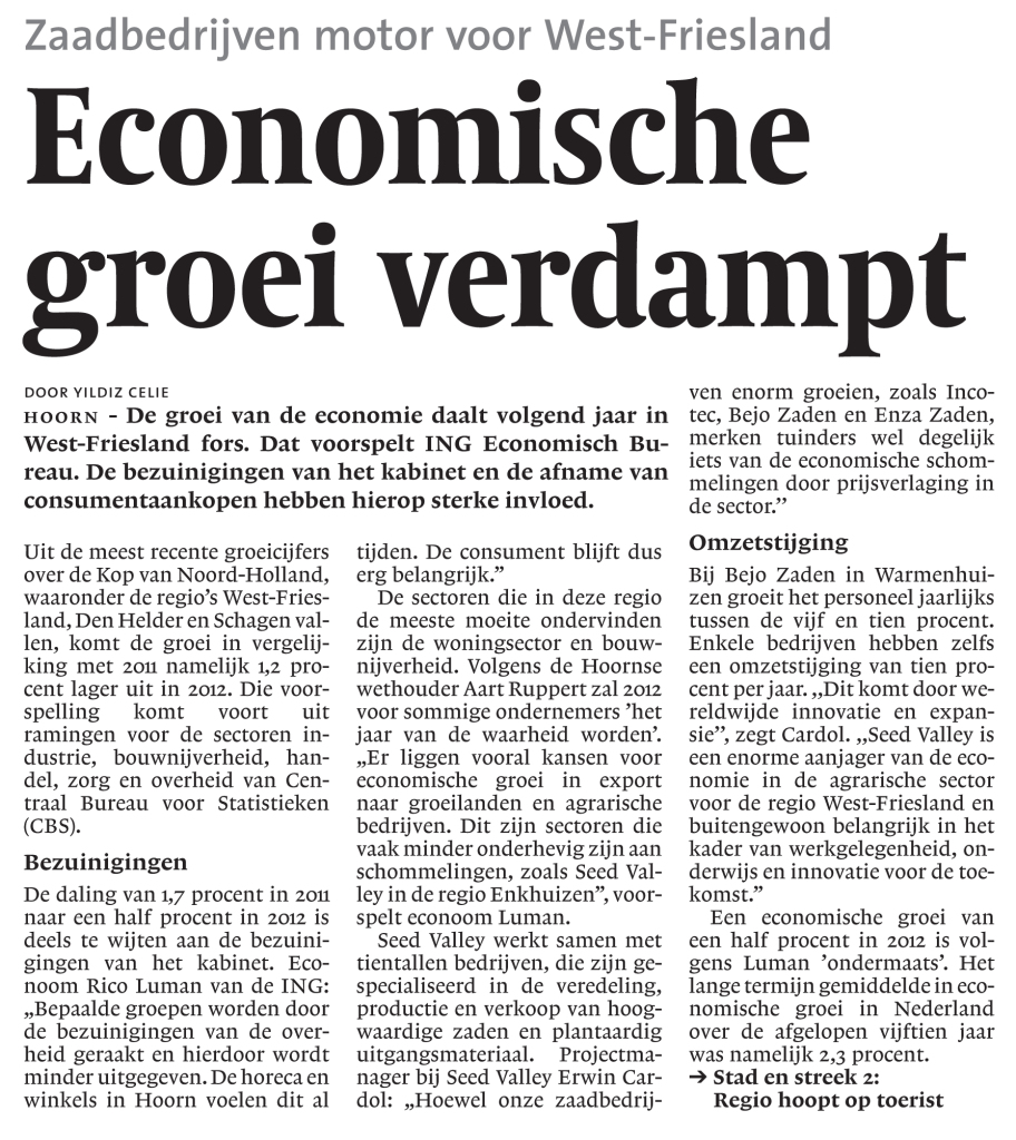 Economische groei in West-Friesland verdampt