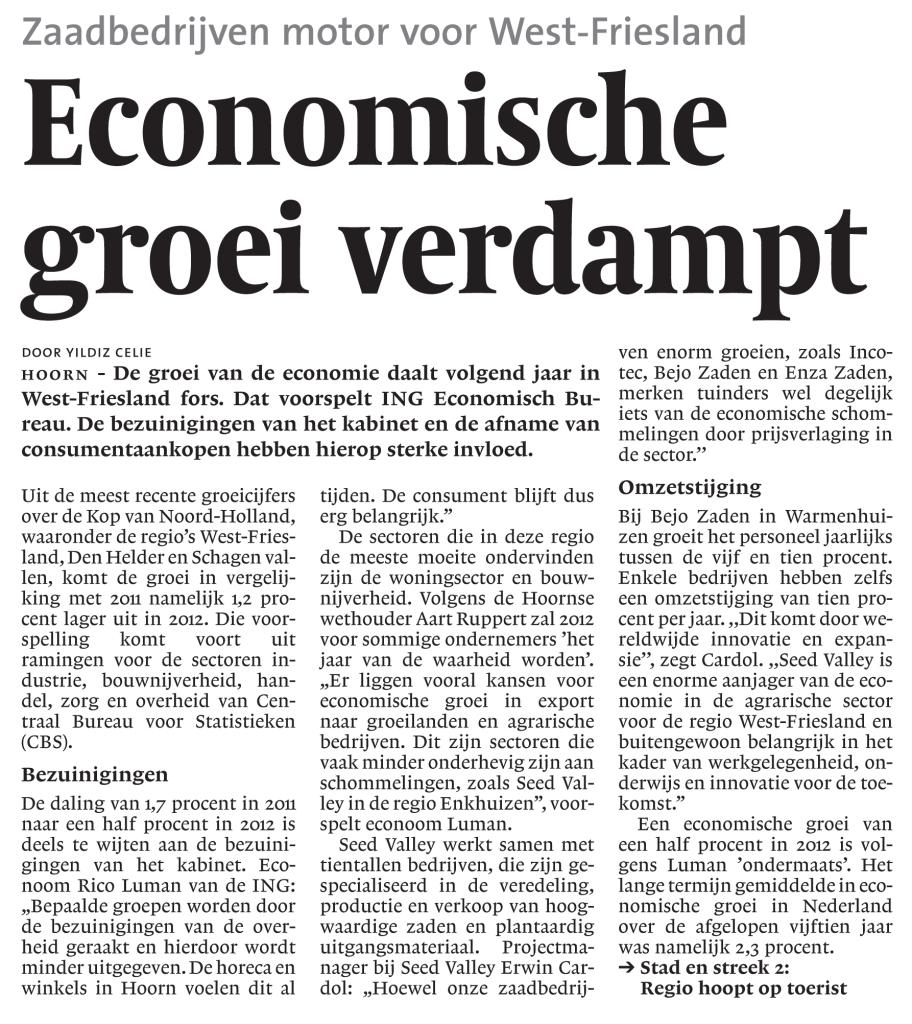 Economische groei in West-Friesland verdampt